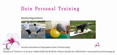 Personal Training Gutschein zum Ausdrucken